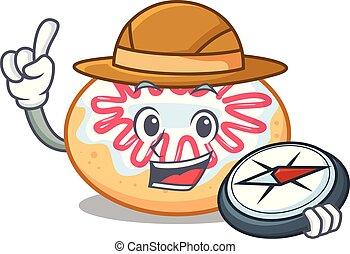 rosquilla, explorador, jalea, caricatura, mascota