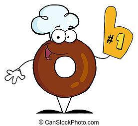 rosquilla, número, carácter, caricatura, uno