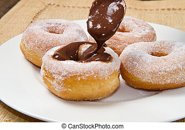 rosquillas, con, chocolate