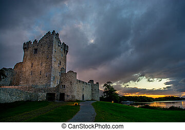 Ross Castle at Lough Leane in Ireland