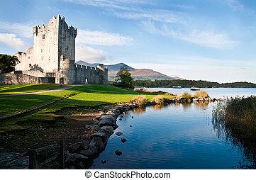 Ross castle (Caisleán an Rois) on the edge of Lough Leane, in Killarney National Park, County Kerry, Ireland