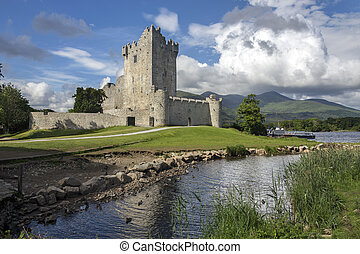 Ross Castle is a 15th-century tower house and keep on the edge of Lough Leane, in Killarney National Park, County Kerry in the Republic of Ireland It is the ancestral home of the O'Donoghue clan.