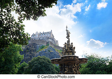 Ross fountain and Edinburgh Castle in Scotland
