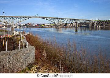 Ross Island bridge and Willamette river Portland Oregon.