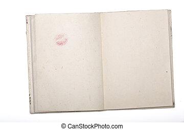 rossetto, isolato, carta, diario, bacio, giappone bianco, aperto