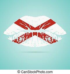 rossetto, labbra, isolato, fondo., bandiera, vettore, bianco, alabama, illustration.