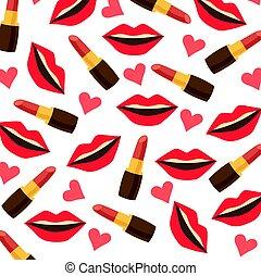 rossetto, modello, labbra, fondo, cuori, rosso