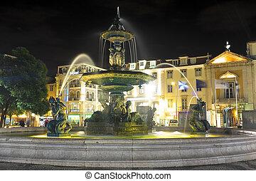 rossio, cuadrado, portugal, night-lit, fuente, lisboa