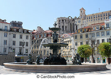 Rossio Square, Lisbon, Portugal - Rossio Square fountain...