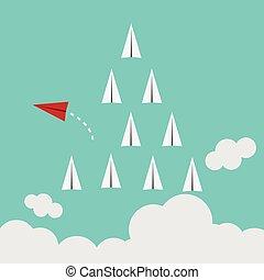 rosso, aeroplano, mutevole, direzione, e, bianco, ones.,...