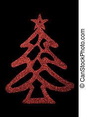 rosso, albero natale, su, sfondo nero