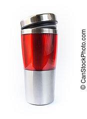 rosso, alluminio, tazza