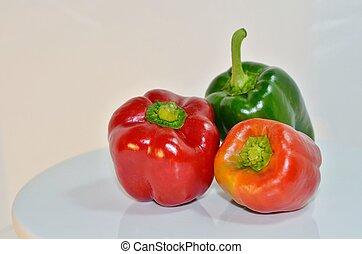 rosso, arancia, e, verde, pepe campana