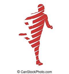 rosso, astratto, correndo, uomo