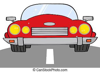 rosso, automobile convertibile, su, uno, strada