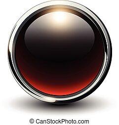 rosso, baluginante, bottone