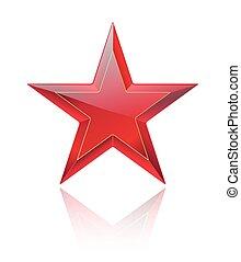 rosso, baluginante, e, lucido, stella rossa, bianco, con, riflessione., vettore, illustrazione