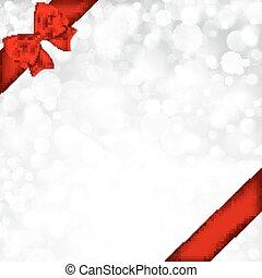 rosso, baluginante, fondo, bow., argento