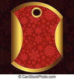 rosso, bandiera, fiocchi neve, oro, rotondo
