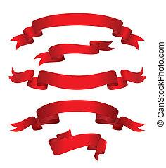 rosso, bandiere, (vector)