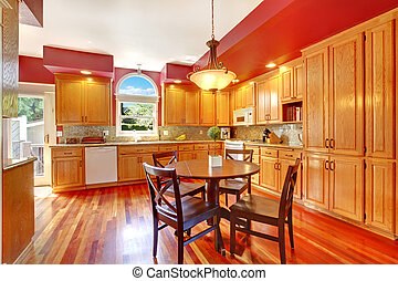 rosso, bello, grande, cucina, con, ciliegia, hardwood.