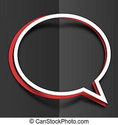 rosso bianco, carta, rotondo, discorso, bolle, con, uggia