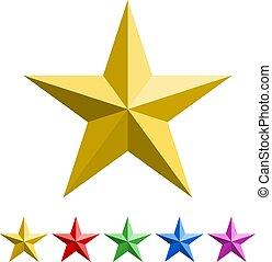rosso, blu, set, stelle, dorato, icona, cinque-puntuto, viola, verde, colori
