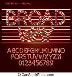 rosso, broadway, lampadina, alpahbet, e, cifra, vettore