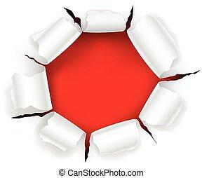 rosso, buco, in, il, carta, con, strappato