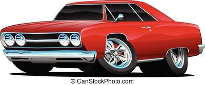 rosso caldo, classico, muscolo, automobile, coupe, cartone animato, vettore, illustrazione