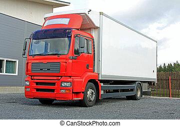 rosso, camion consegna, vicino, magazzino