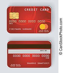 rosso, carta credito, bancario, concetto, fro