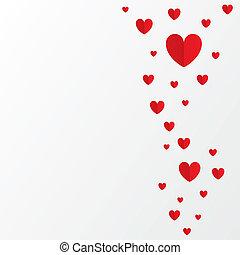rosso, carta, cuori, giorno valentines, scheda, bianco