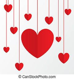 rosso, carta, cuori, giorno valentines, scheda, su, white.