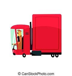 rosso, cartone animato, semi camion, carico, trasporto, vettore, illustrazione