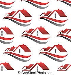 rosso, casa, tetti, seamless, modello