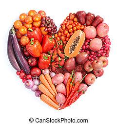 rosso, cibo sano