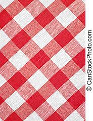 rosso, controllato, tessuto, tovaglia