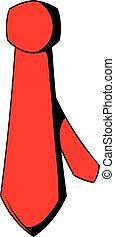 rosso, cravatta, icona, cartone animato