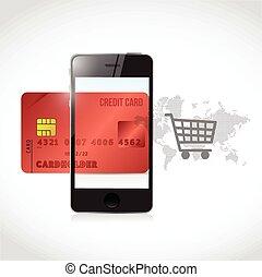 rosso, credito, carrello, telefono, shopping, concetto