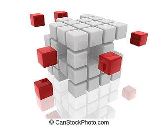 rosso, cubi, bianco