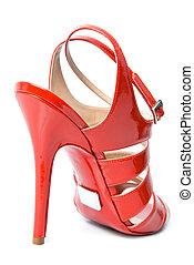 rosso, cuoio, femmina, scarpa, isolato, bianco
