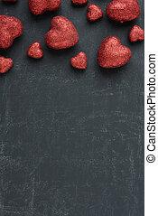 rosso, cuori, su, uno, lavagna, per, giorno valentines