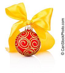 rosso, decorazione natale, fronzolo, con, nastro giallo, arco, isolato, bianco, fondo