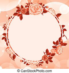 rosso, disegno, fiori, fondo