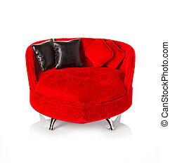 rosso, divano, divano
