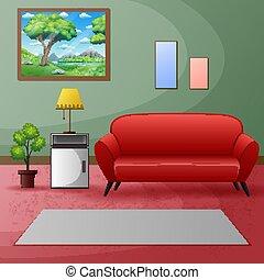 rosso, divano, pittura, stanza