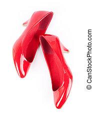 rosso, donna ballando, scarpe