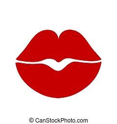 rosso, donna, illustrazione, femmina, labbra, casato, vettore, bianco, disegno