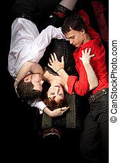 rosso, donna, in, maschera, e, due uomini, -, amore, triangolo